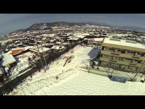 記録的大雪災害 山梨 2014-02-19 石和東小学校にて空撮