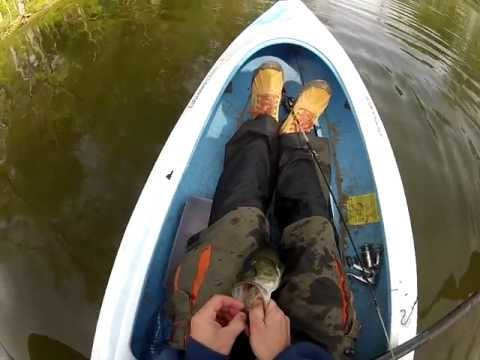 GoPro Kayak Pond Fishing, Nice Largemouth Bass