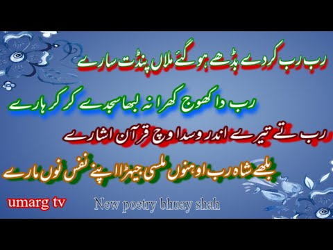 Heart touching poetry by baba bulleh shah | punjabi shayari | sufiana kalam