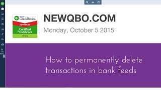QuickBooks Online - How to permanently delete bank downloaded transactions in bank feeds