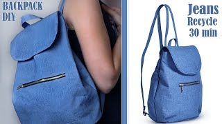 DIY OLD JEANS RECYCLE INTO CUTE BACKPACK TUTORIAL // Handmade Backpack Idea 30 Min