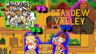 Who Wins?! | Harvest Moon Vs Story of Seasons Vs Stardew Valley