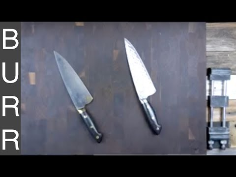 Bob Kramer Carbon vs  Kramer Damascus SG2 Chef Knife Cut Demo  + Review