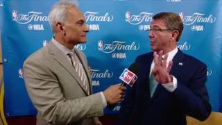 Secretary of Defense Ashton Carter at the NBA Finals by NBA