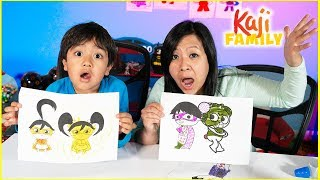 Ryan coloring and 3 Marker Challenge with Mommy!!
