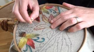Crewel Embroidery Seed Stitch Gradient Leaves
