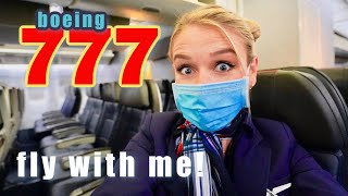 Fly Inside The BOEING 777-200 With Me!! Flying LAX to Miami. Flight Attendant Life