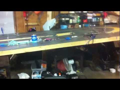 Retractable Home made 1/32 wood slot car race track