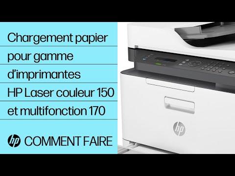 Chargement du papier dans la gamme d'imprimantes HP Laser couleur 150 et multifonction 170