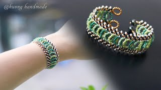Lattice Beaded Bracelet DIY. How To Make Jewelry