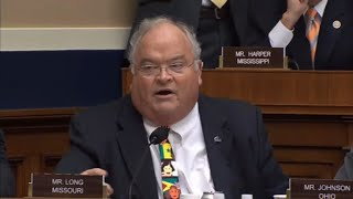 Rep. Billy Long drowns out protester with auction call in Twitter hearing