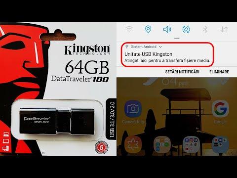 Prezentare USB Flash Drive Kingston DataTraveler 100 G3 USB 3.0 64GB si conectare la telefon
