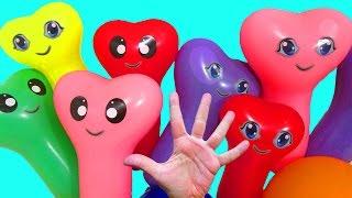 Шарики с водой Песня Для детей Семья пальчиков Развивающее видео Учим цвета Лопаем воздушные шарики