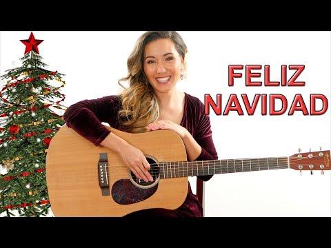 Feliz Navidad - EASY Guitar Tutorial with Play Along
