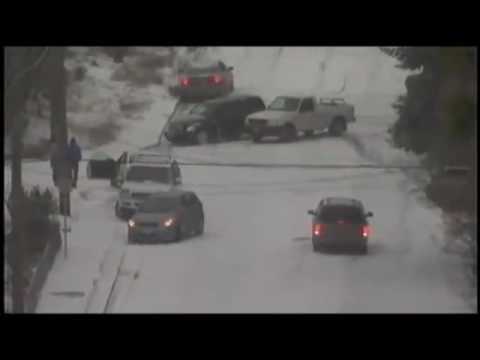 2010 USA Cars Sliding And Crashing Down Icy Hill In The Snow!