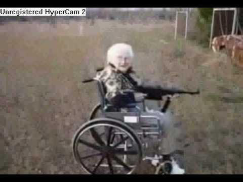 Old Woman Shoot Machine Gun Very Funny..