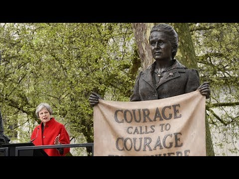 Theresa May unveils suffragette statue in Parliament Square