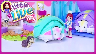Little Live Pets Lil Hedgehog House at Lego Friends Vet Clinic Unboxing Silly Play - Kids Toys