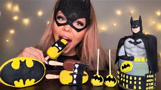 ASMR EDIBLE BATMAN DOLL, BATMAN CAKE, MAGNUM ICE CREAM, CAKE POPS, HALLOWEEN EDITION MUKBANG 먹방