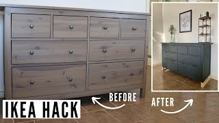 EXTREME IKEA HACK | DRESSER MAKEOVER | HOW TO UPDATE FURNITURE WITH CHALK PAINT AND NEW HARDWARE