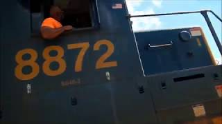 Csx tie train going backwards through Station