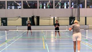 Final womens doubles 2nd game Amsterdam Pickleball Tournament 2014