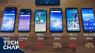 iPhone X vs Galaxy S8 vs Note 8 vs OnePlus 5T vs Mate 10 Pro - Battery Drain Test! | The Tech Chap