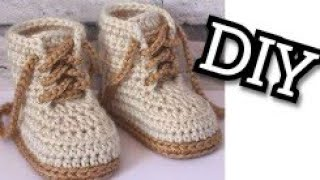 Baby Booties Converse Lace Up Shoes Easy (0_1 )year  DIY Crochet Baby Sneakers