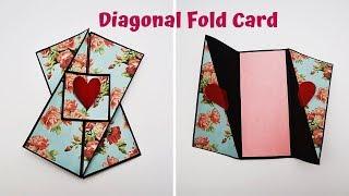 Diagonal Fold Card Tutorial | Card For Scrapbook / Explosion Box | Handmade Card