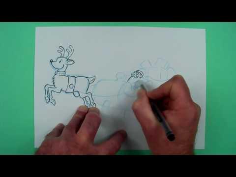 Wie malt man einen Weihnachtsmann mit Rentier und Schlitten? Zeichnen für Kinder