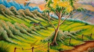 Pintando Paisagem com Arco Iris – Pintura em Tecido