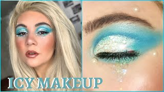 EASY ICE QUEEN MAKEUP TUTORIAL | Glitter Cut Crease For Hooded Eyes