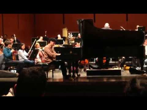 """Rehearsal of Sunbin's performance of his concerto, """"Visions of the Night Forest"""" with the American Symphony Orchestra."""