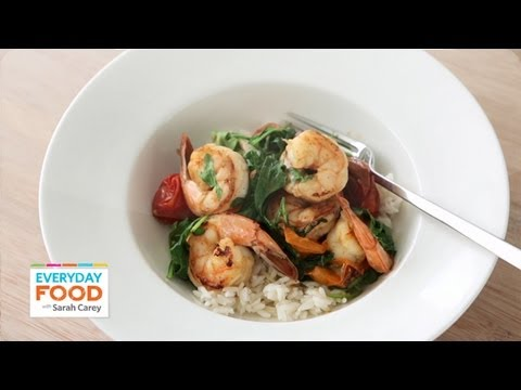 Sauteed Shrimp with Arugula and Tomatoes – Everyday Food with Sarah Carey