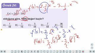 Eğitim Vadisi AYT Matematik 15.Föy Türev 2 Konu Anlatım Videoları