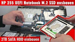 HP Notebook 255 öffnen M.2 SSD ausbauen - 2TB SATA HDD einbauen - Bios Windows 10 - [4K]