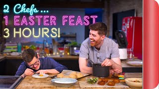 2 CHEFS try to cook a 3 COURSE EASTER FEAST in 3 HOURS!!