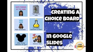 How To Create A Choice Board Using Google Slides