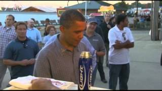 Raw Video: Obama Surprises Iowa Fairgoers