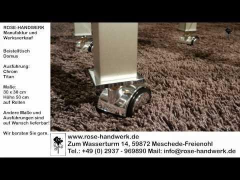 Beistelltisch Domus klein Metall Chrom Titan Glas und auf Rollen