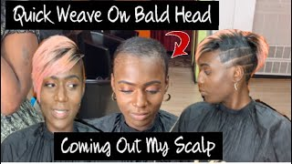 ROSE GOLD PARTIAL QUICK WEAVE ON BALD HEAD 🧐| ILLUSION PART TUTORIAL ( MODEL MODEL HAIR)