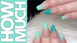 Blue Glitter Ombre Nails + Shape Change