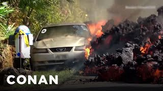 Unedited Footage Of The Car Being Eaten By Lava  - CONAN on TBS - Video Youtube