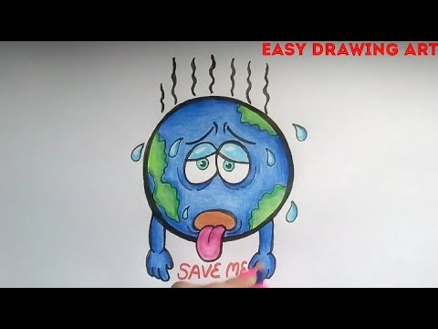 how to draw save earth poster drawing || save earth save environment drawing