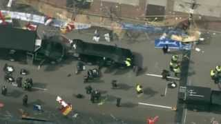 Boston Marathon finish line: aerial view of the aftermath