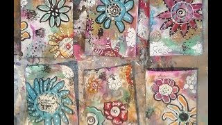 How To Make Easy Doodle Flower Artist Trading Cards /  Artist Trading Cards For Beginners