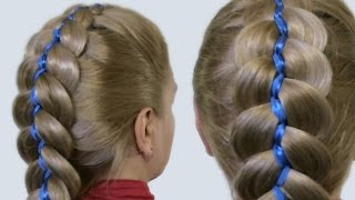 Как Плести Косы с Лентами Видео| 5 Strand Ribbon French Braid Headband on Yourself Hairstyle