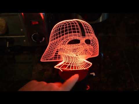 3D Darth Vader Optical Illusion 7 LED Color Changing Lamp