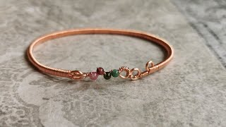 DIY Bangle / Wire Wrapped Bracelet Tutorial/ DIY Jewelry / DIY Accessories