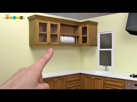 DIY Miniature Kitchen Wall Cabinet ミニチュアキッチン吊戸棚作り
